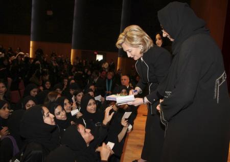 Hillary Clinton signs autographs in Jeddah, Saudi Arabia