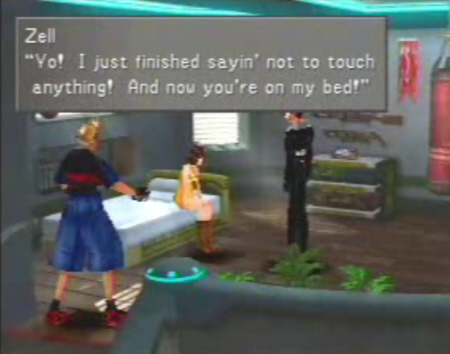 Selphie sits on Zell's bed. Zell's Room Final Fantasy VIII screenshot