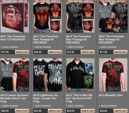As I Lay Dying The Powerless Rise pre-order bundles